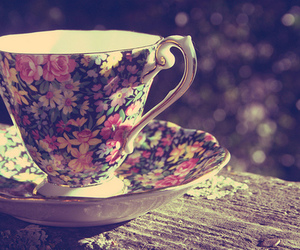 cup, flowers, and tea image