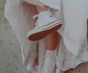 converse, wedding, and white image