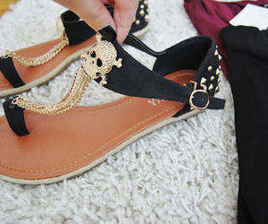 fashion, sandals, and skulls image
