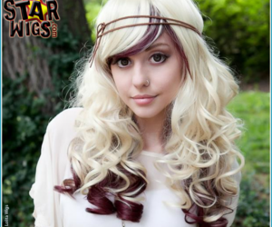 blonde, hair, and wig image