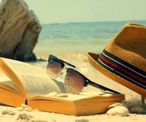 beach, book, and summer image
