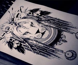 lion, art, and draw image