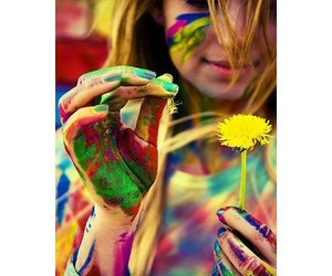 girl, flowers, and colorful image