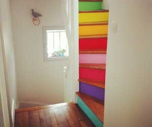 stairs, rainbow, and colorful image