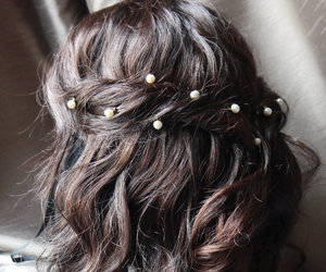 hair, pearls, and brunette image