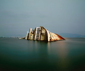 art, half, and ocean image