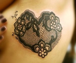 tattoo, heart, and lace image