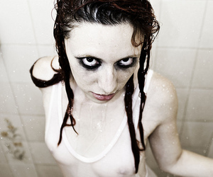 water, black eyes, and sexy image