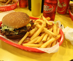 burger, chips, and dr pepper image