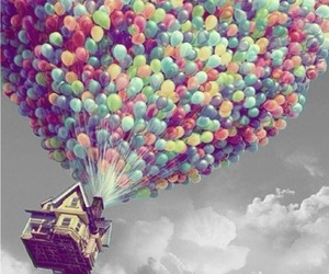 house, fly, and balloons image