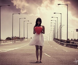 heart, girl, and road image