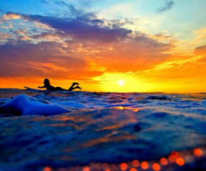 surf, summer, and sunset image