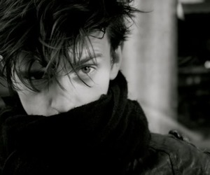 black and white, guy, and scarf image