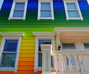 house, rainbow, and colorful image