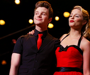 glee, dianna agron, and chris colfer image