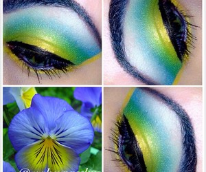 art, eyes, and flower image