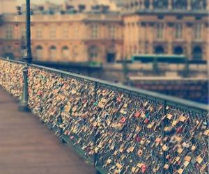 love, paris, and bridge image