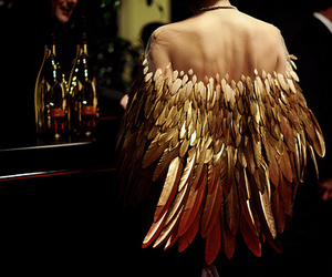 fashion, gold, and wings image