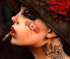 rose, cigarette, and tattoo image