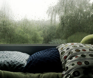 rain, pillow, and window image