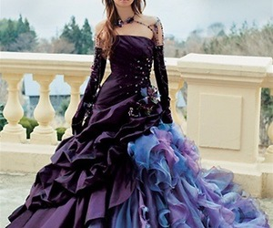 dress, purple, and gothic image