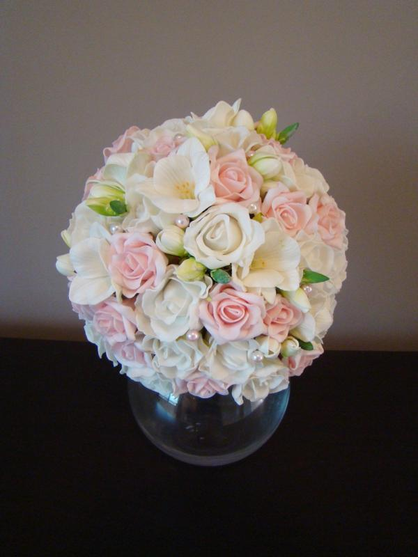 Blush Artificial Rose And Freesia Bouquet Artificial Wedding