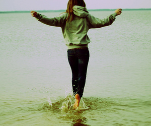 girl, water, and beach image