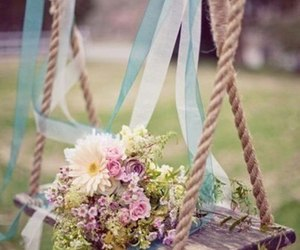 flowers, summer, and swing image