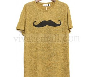 womens apparel and mustache print t-shirt image