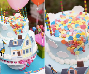 cake, up, and balloons image