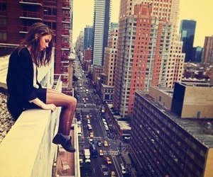brown hair, girl, and rooftop image