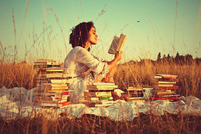 books, girl, and nature image