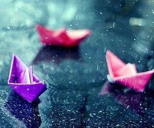 rain, boat, and pink image