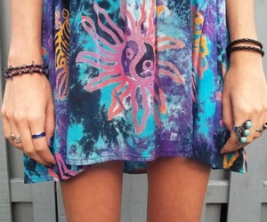 boho, tye dye, and dress image