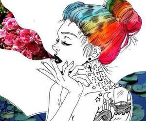 tattoo, drawing, and smoke image