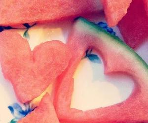 hearts, summer, and watermelon image