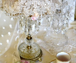 cristals, lace, and shabby chic image