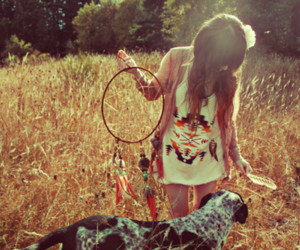 girl, dog, and dreamcatcher image