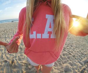 girl, beach, and la image