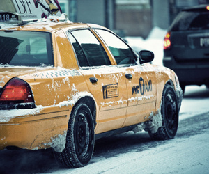 snow, taxi, and new york image