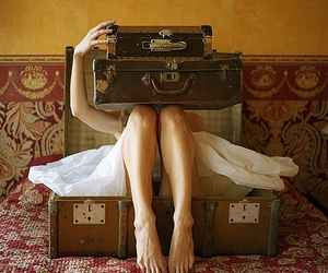 suitcase, vintage, and legs image