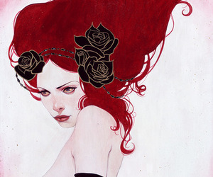 art, red, and rose image