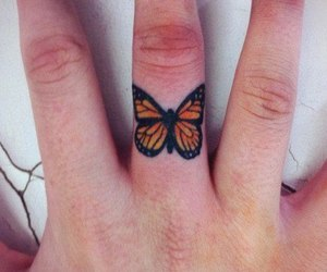 tattoo, butterfly, and finger image