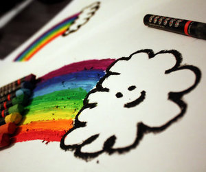 rainbow, clouds, and colors image