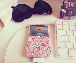 pink, ipod, and sunglasses image