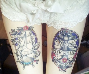 tattoo, legs, and anchor image