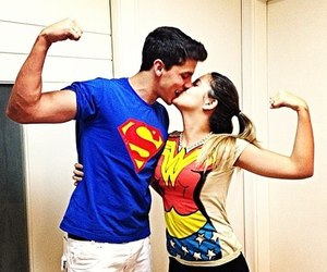 couples, kissing, and wonderwoman image