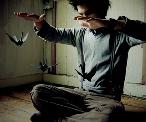 boy, bird, and origami image