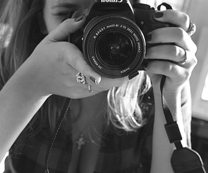 black and white, black nails, and camera image