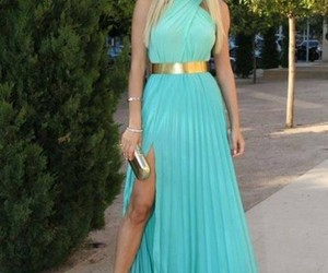 dress, blue, and blonde image